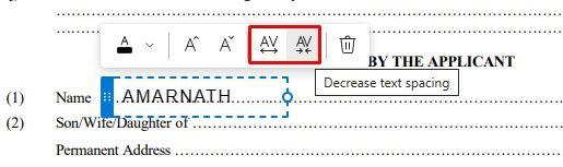 Adjust text spacing