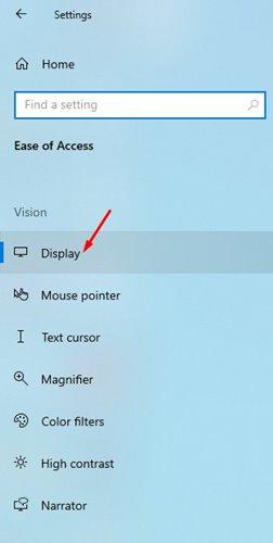 Display settings Windows 10