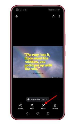 Tap on Google Lens icon