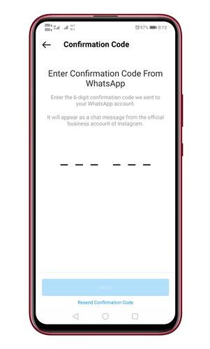 Enter the confirmation code