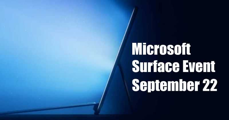 Microsoft Next Surface Launch Event Set for September 22