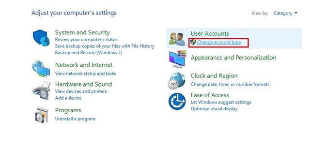 Change Account type option