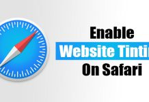 How to Enable/Disable Website Tinting in Safari